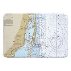 Miami, FL Nautical Chart Memory Foam Bath Mat