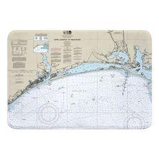 Cape Lookout to New River, NC Nauitcal Chart Memory Foam Bath Mat