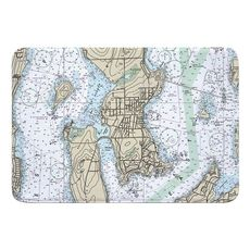 Jamestown, RI Nautical Chart Memory Foam Bath Mat