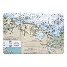 Cohasset, MA Nautical Chart Memory Foam Bath Mat