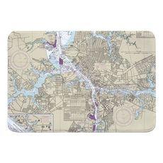 Portsmouth, Norfolk, VA Nautical Chart Memory Foam Bath Mat