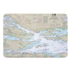St. Lawrence River; Ironsides, NY to Bingham I., Ont. Nautical Chart Memory Foam Bath Mat