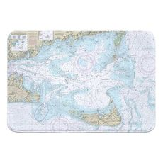 Nantucket Sound and Approaches, MA Nautical Chart Memory Foam Bath Mat