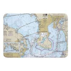 Tampa Interbay Peninsula, Old Tampa Bay, FL Nautical Chart Memory Foam Bath Mat