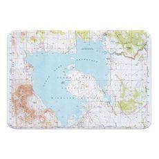 Clear Lake Reservoir, CA (1951) Topo Map Memory Foam Bath Mat