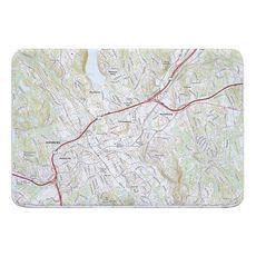 Danbury, CT Topo Map Memory Foam Bath Mat