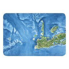 Key West, FL (1971) Topo Map Memory Foam Bath Mat