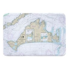 Martha's Vineyard, MA Nautical Chart Memory Foam Bath Mat