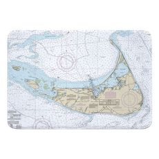 Nantucket Island, MA Nautical Chart Memory Foam Bath Mat
