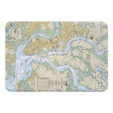 Charleston Harbor, SC Nautical Chart Memory Foam Bath Mat