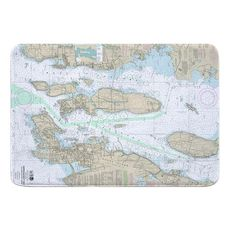 Narragansett Bay, RI Nautical Chart Memory Foam Bath Mat