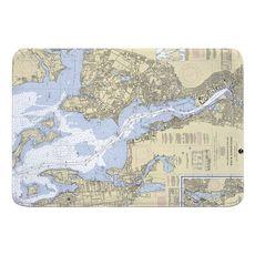 Providence River, RI Nautical Chart Memory Foam Bath Mat