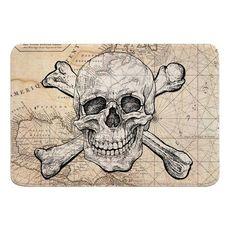 Skull & Crossbones Old World Nautical Chart Memory Foam Bath Mat