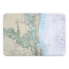 Amelia Island, Talbot Island, Atlantic Beach, FL Nautical Chart Memory Foam Bath Mat