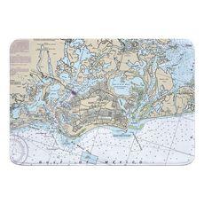 Marco Island, FL Nautical Chart Memory Foam Bath Mat