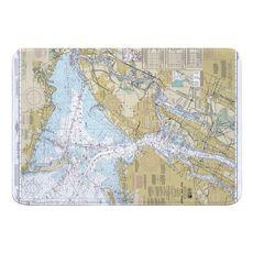 New York Harbor, NY Nautical Chart Memory Foam Bath Mat