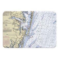Ocean City, MD Nautical Chart Memory Foam Bath Mat