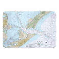 Galveston, TX Nautical Chart Memory Foam Bath Mat