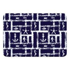 Ocean Squares Navy Memory Foam Bath Mat