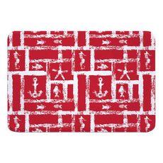 Ocean Squares Red Memory Foam Bath Mat