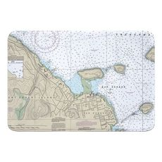 Bar Harbor, ME Nautical Chart Memory Foam Floor Mat