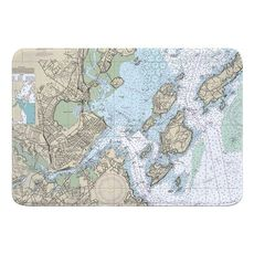 Portland, ME Nautical Chart Memory Foam Bath Mat