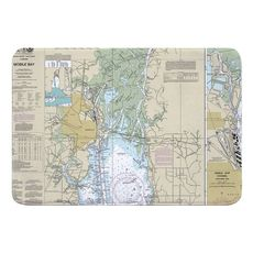 Mobile, AL Nautical Chart Memory Foam Bath Mat