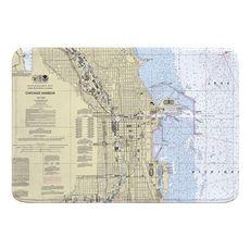 Chicago, IL Nautical Chart Memory Foam Bath Mat