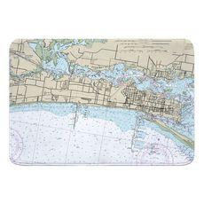Biloxi, MS Nautical Chart Memory Foam Bath Mat