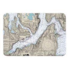Bremerton, WA Nautical Chart Memory Foam Bath Mat
