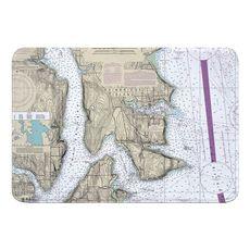 Bainbridge Island, WA Nautical Chart Memory Foam Bath Mat