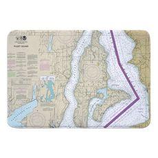 Vashon Island, Maury Island, WA Nautical Chart Memory Foam Bath Mat