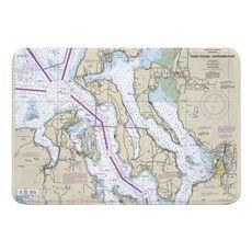 Puget Sound NORTHERN, WA Nautical Chart Memory Foam Bath Mat