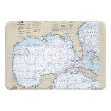 Gulf of Mexico Nautical Chart Memory Foam Bath Mat