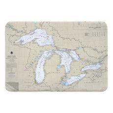 Great Lakes Nautical Chart Memory Foam Bath Mat