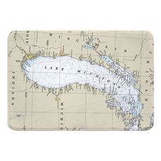 Lake Michigan Nautical Chart Memory Foam Bath Mat