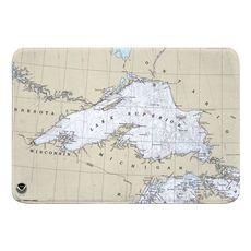 Lake Superior Nautical Chart Memory Foam Bath Mat
