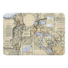 Niagra Falls, NY Nautical Chart Memory Foam Bath Mat