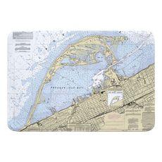 Erie Harbor, Presque Isle, PA Nautical Chart Memory Foam Bath Mat