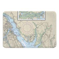 New Bern, NC Nautical Chart Memory Foam Bath Mat