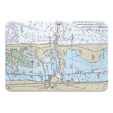 Fort Pierce Inlet, FL Nautical Chart Memory Foam Bath Mat