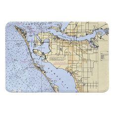Bradenton, FL Nautical Chart Memory Foam Bath Mat