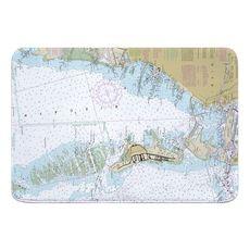 Key Biscayne, FL Nautical Chart Memory Foam Bath Mat