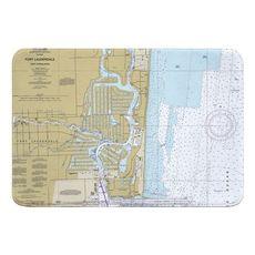 Fort Lauderdale, FL Nautical Chart Memory Foam Bath Mat