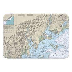 Norwalk, Saugatuck, CT Nautical Chart Memory Foam Bath Mat