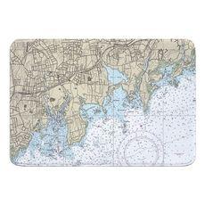 Stamford, Norton, CT Nautical Chart Memory Foam Bath Mat