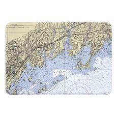 Greenwich, CT Nautical Chart Memory Foam Bath Mat