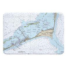 Cape Hatteras, NC Nautical Chart Memory Foam Bath Mat