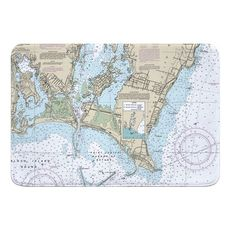 Point Judith Harbor, RI Nautical Chart Memory Foam Bath Mat