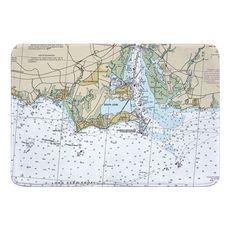 Old Saybrook, CT Nautical Chart Memory Foam Bath Mat